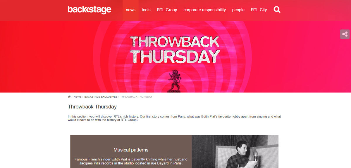 RTL Group Backstage Throwback Thursday