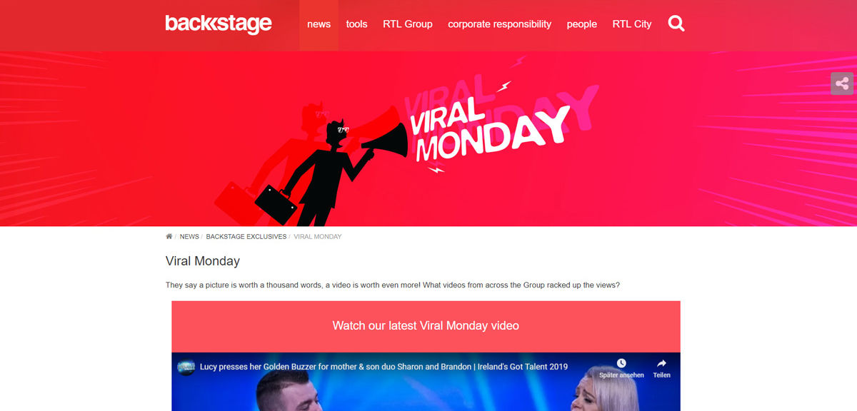 RTL Group Backstage Viral Monday